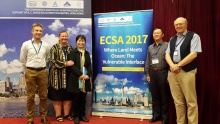 From left to right - Dr Tim Jennerjahn (ECSA Councillor), Prof. Alice Newton (ECSA Councillor), Prof. Xiuzhen Li (Conference Organiser, State Key Laboratory for Estuarine and Coastal Research (SKLEC) at the East China Normal University (ECNU)), Prof. Shu Gao (Conference Chair and Director of SKLEC at the ECNU) and Prof. Mike Elliott (ECSA Councillor).